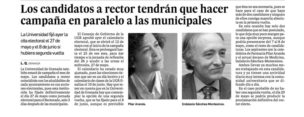 Los candidatos a rector tendrán que hacer campaña en paralelo a las municipales